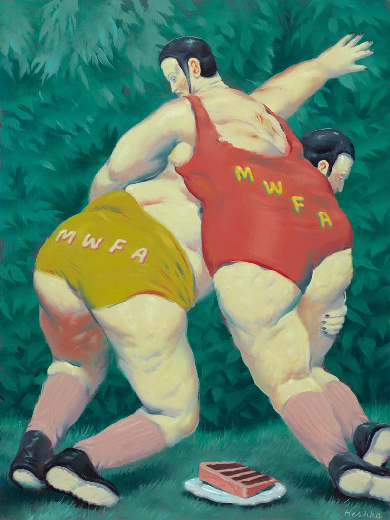 Ryan Heshka, #MWFA (Men with fat asses), 2018, oil on cradled wood panel, 30×22 cm