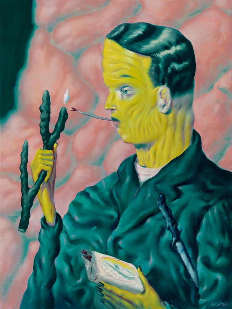 Ryan Heshka, The Coral Marauder, 2018, oil on canvas, 60×45 cm