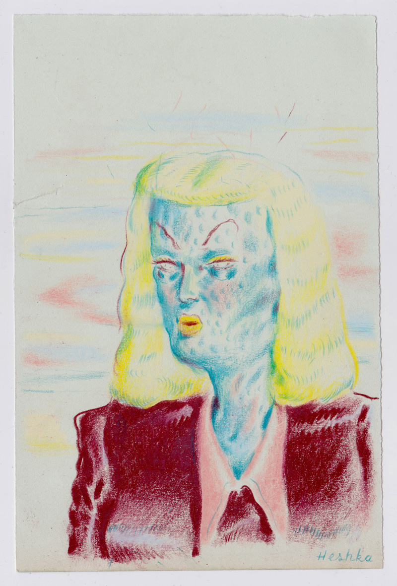 Ryan Heshka, Visitor from the Haze, 2018, pencil crayon on paper, 18×12 cm