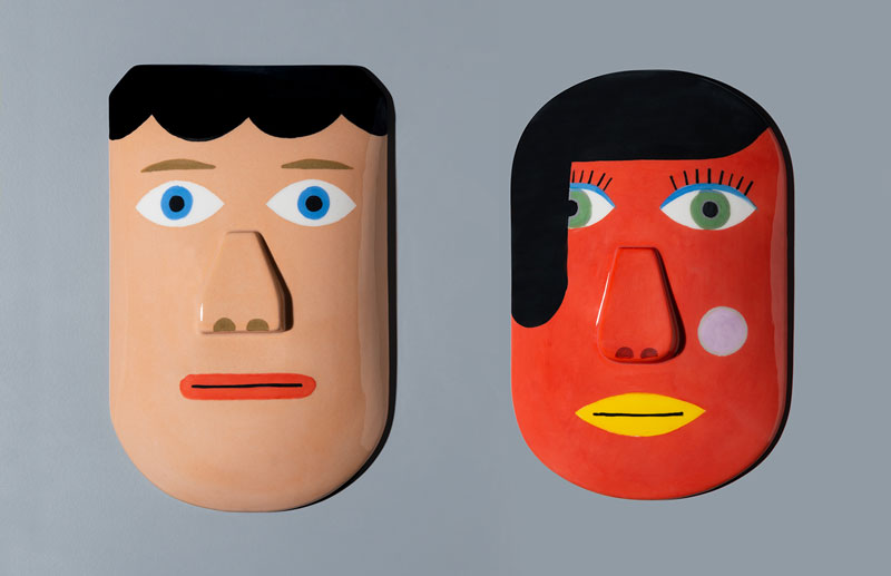 Andy Rementer, Doppelgȁnger, 2019, handmade ceramic masks, limited edition of 15, 27x17x4,5 cm and 28,5x18x5,5 cm