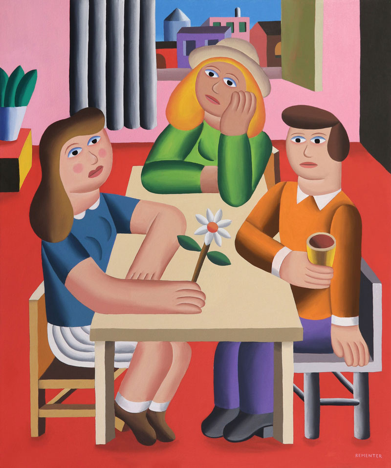 Andy Rementer, Gathering, 2019, oil on canvas, 76×91,5 cm