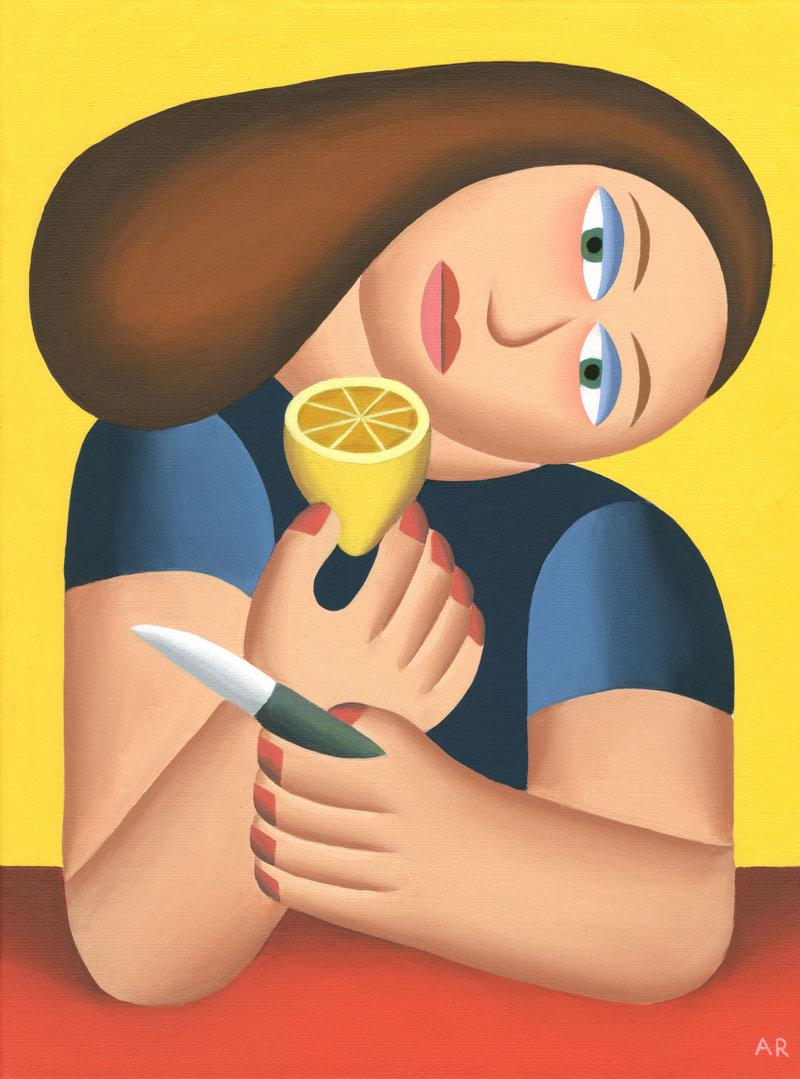 Andy-Rementer,-Limonata,-2019,-oil-on-linen,-30,5×40,5-cm