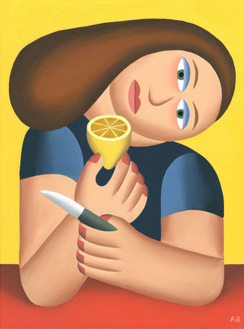 Andy Rementer, Limonata, 2019, oil on linen, 30,5×40,5 cm