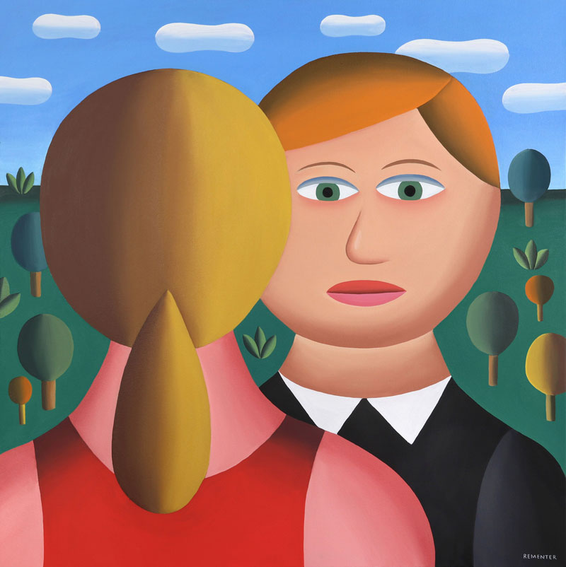 Andy Rementer, Who is she, 2019, oil on canvas, 91,5×91,5 cm