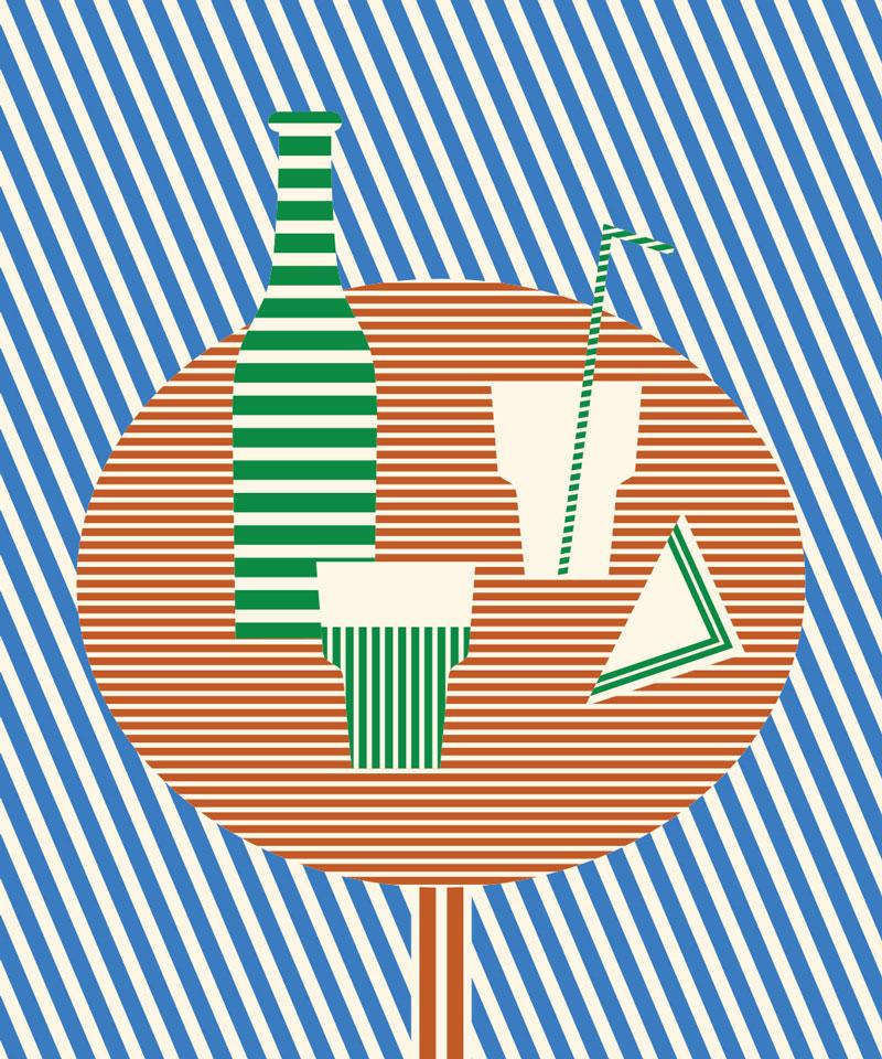 Olimpia Zagnoli, Aperitivo, 2019, limited edition of 8 giclee prints on Somerset Velvet,  60×50 cm