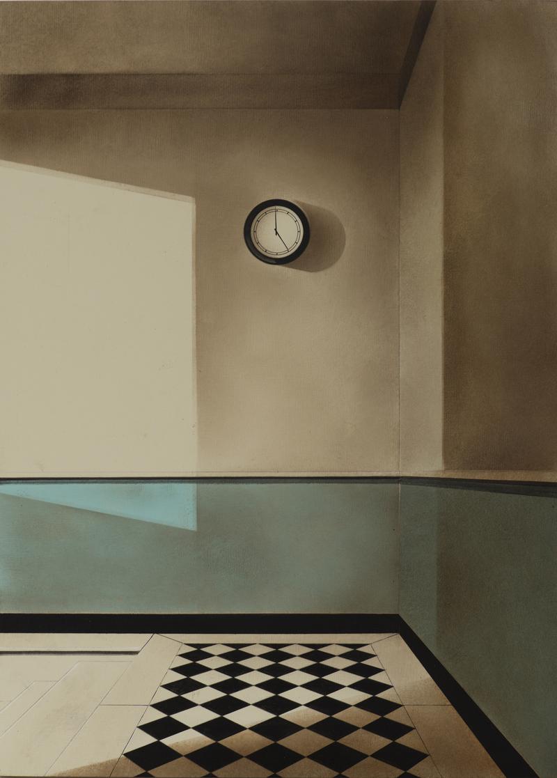 Arduino Cantafora, Atto Unico I, 2016, vinilico e olio su tavola, 50×35 cm