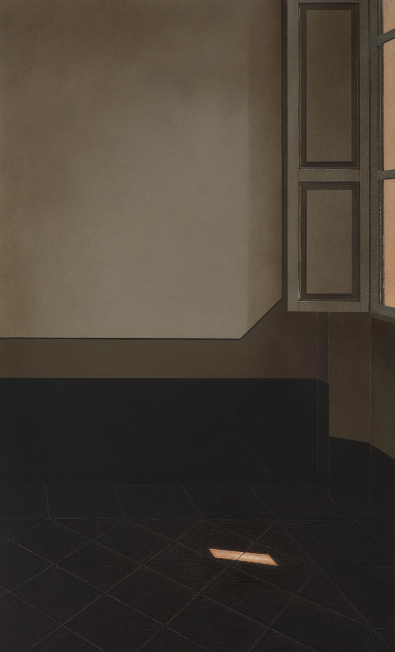 Arduino Cantafora, Interno III, 2016, olio su tavola, 50×35 cm