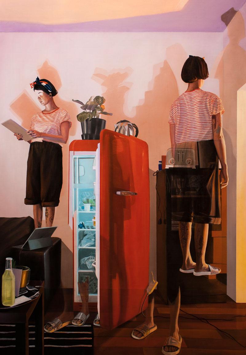 Dario Maglionico, Reificazione #52, 2018, olio su tela, 150×100 cm