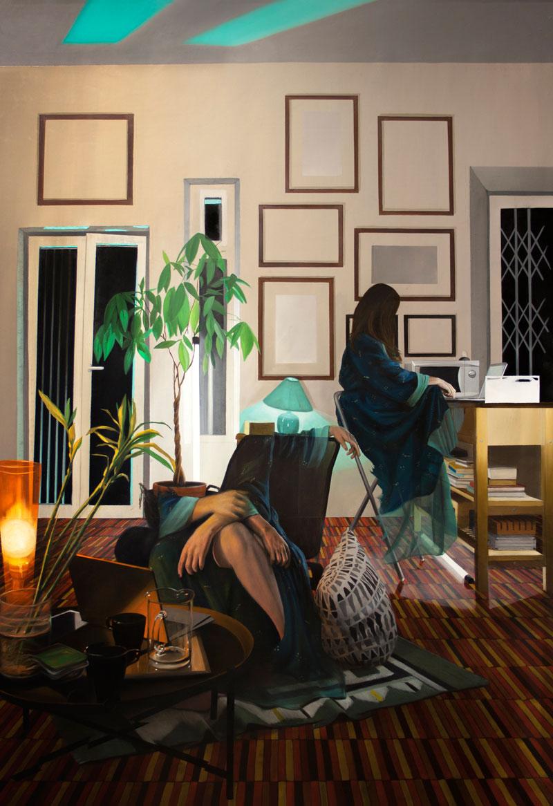Dario Maglionico, Reificazione #53, 2019, olio su tela, 160×105 cm
