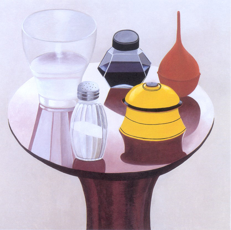 Nathalie Du Pasquier, 2000, Tavolino con pera di gomma, olio su tela, 180×180 cm