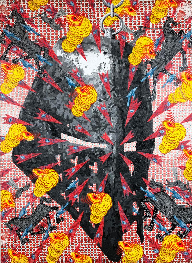 Andrew Schoultz, War Helmet Explosion, 2019, acrylic on canvas mounted on panel, 70 x 65 cm