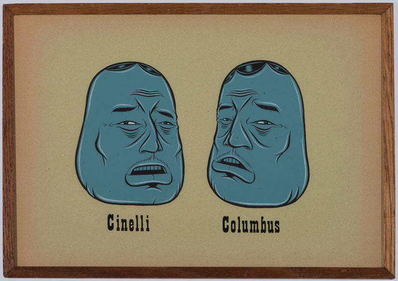 Barry McGee, Cinelli-Columbus, 2020, acrylic and gouache on paper, 22,2x31,1 cm