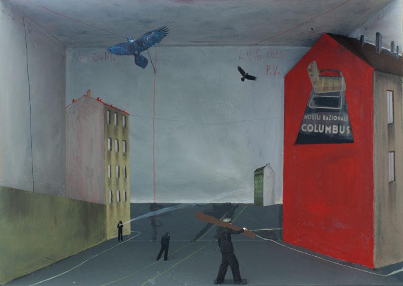 Paolo Ventura, Colombo a Lambrate, 2020, mixed media, 80 x 110 x 65 cm