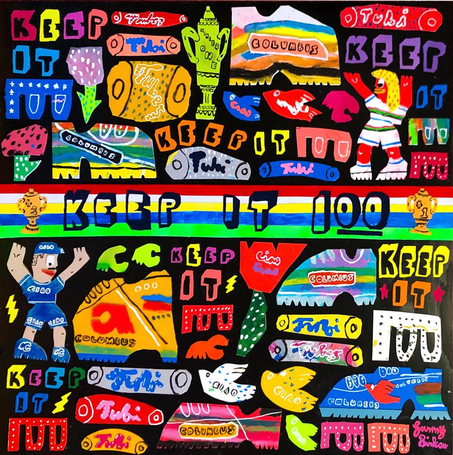 Sam Binkow, Keep It Cento, 2020, mixed media on board, 100 x 100 cm