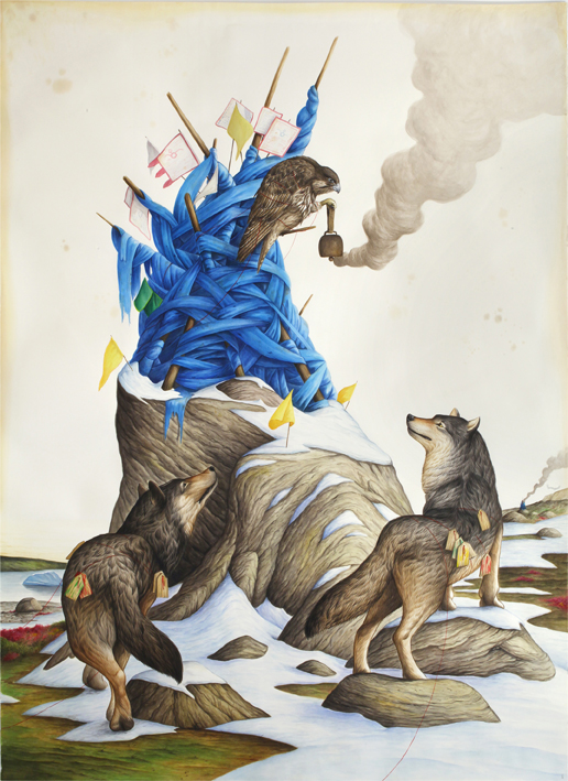 El Gato Chimney, At the Shrine, 2018, watercolors and mixed media on paper, 216×153 cm