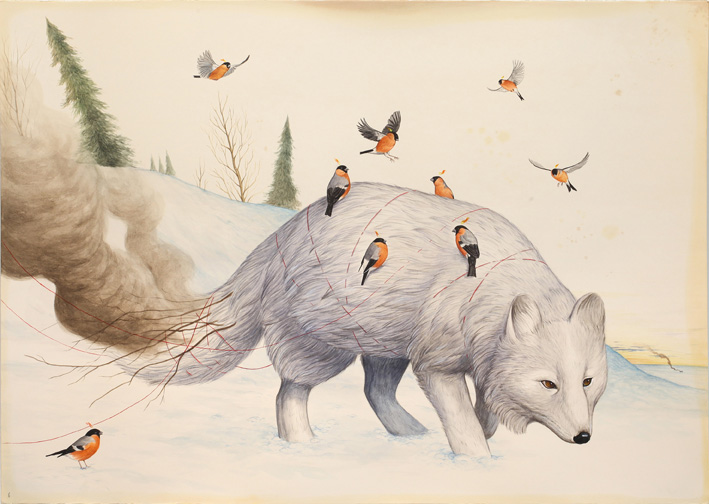 El Gato Chimney, In search for the true north, 2018, watercolors and mixed media on paper, 70×100 cm