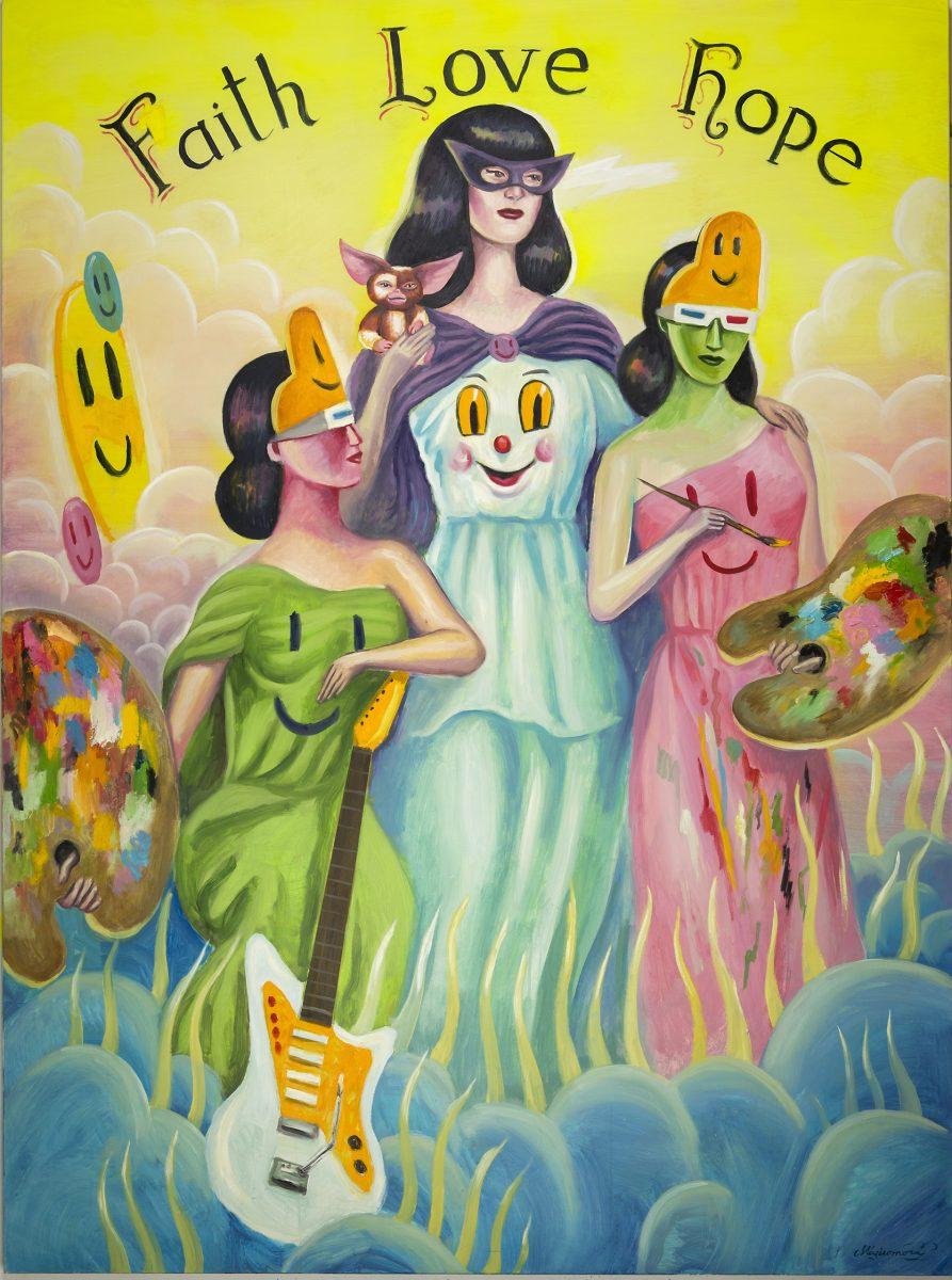 Sergio Mora, Magic Muses, 2020, oil on canvas, 200×150 cm