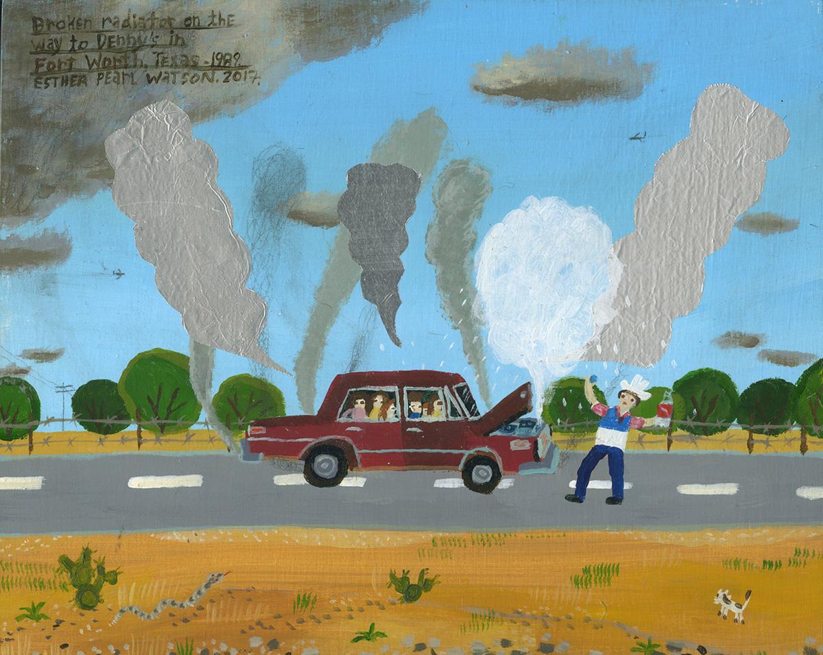 Esther-Pearl-Watson,-Broken-Radiator,–2017,-mixed-media-on-board,-20,3×25,4-cm