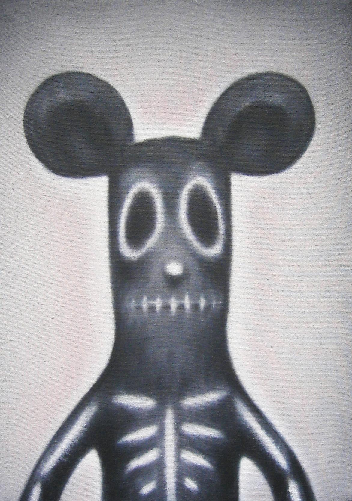 Luigi Presicce, Phantomouse, acrilico su tessuto, 2005, cm 35×25