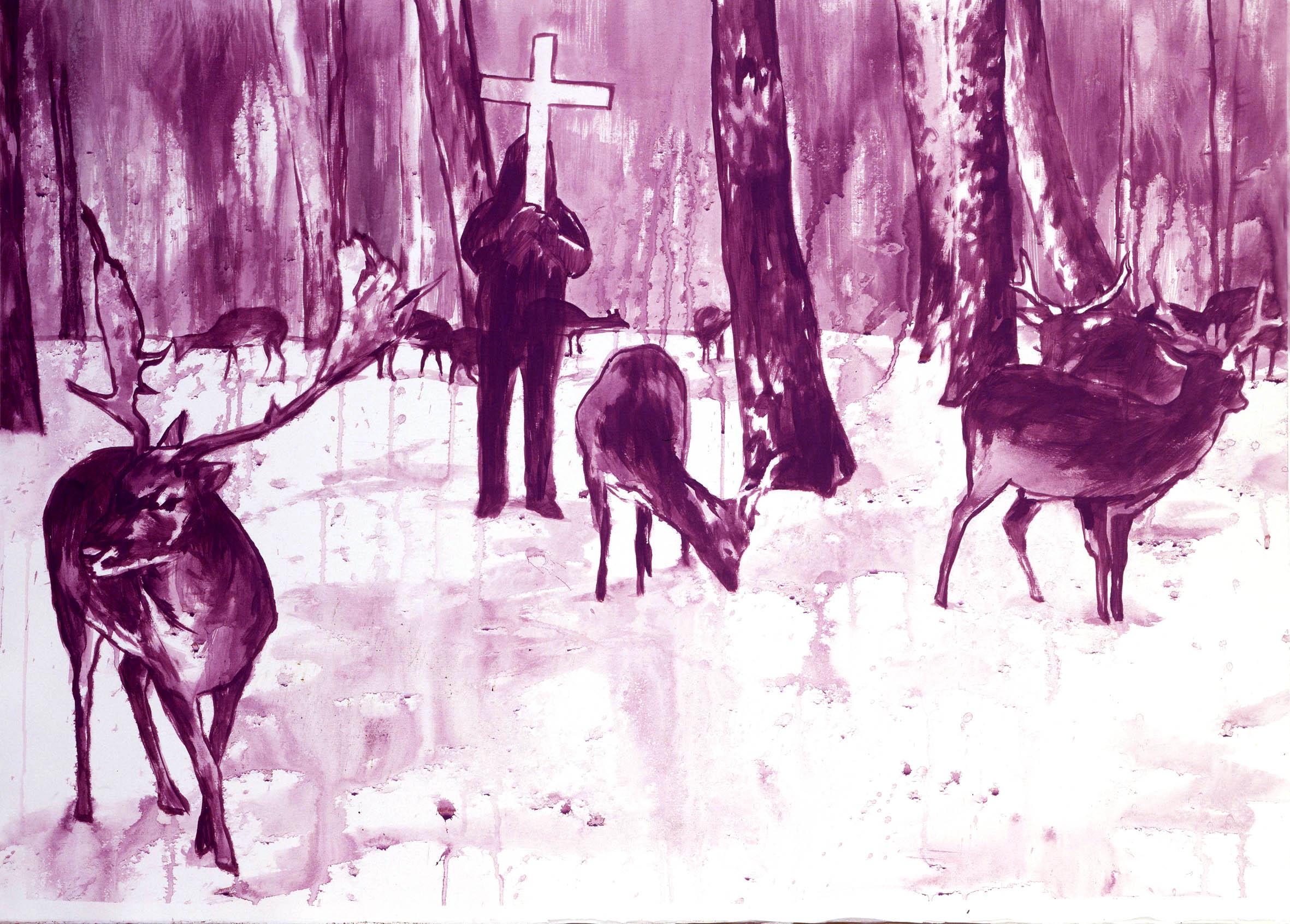 Luigi Presicce, ST, 06, acrilico su carta, 80x 100 cm