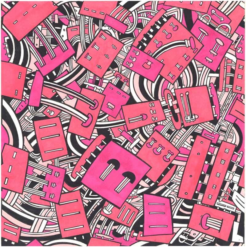 Massimo-Giacon,-Disegno-per-tessuto-Memphis,-1990