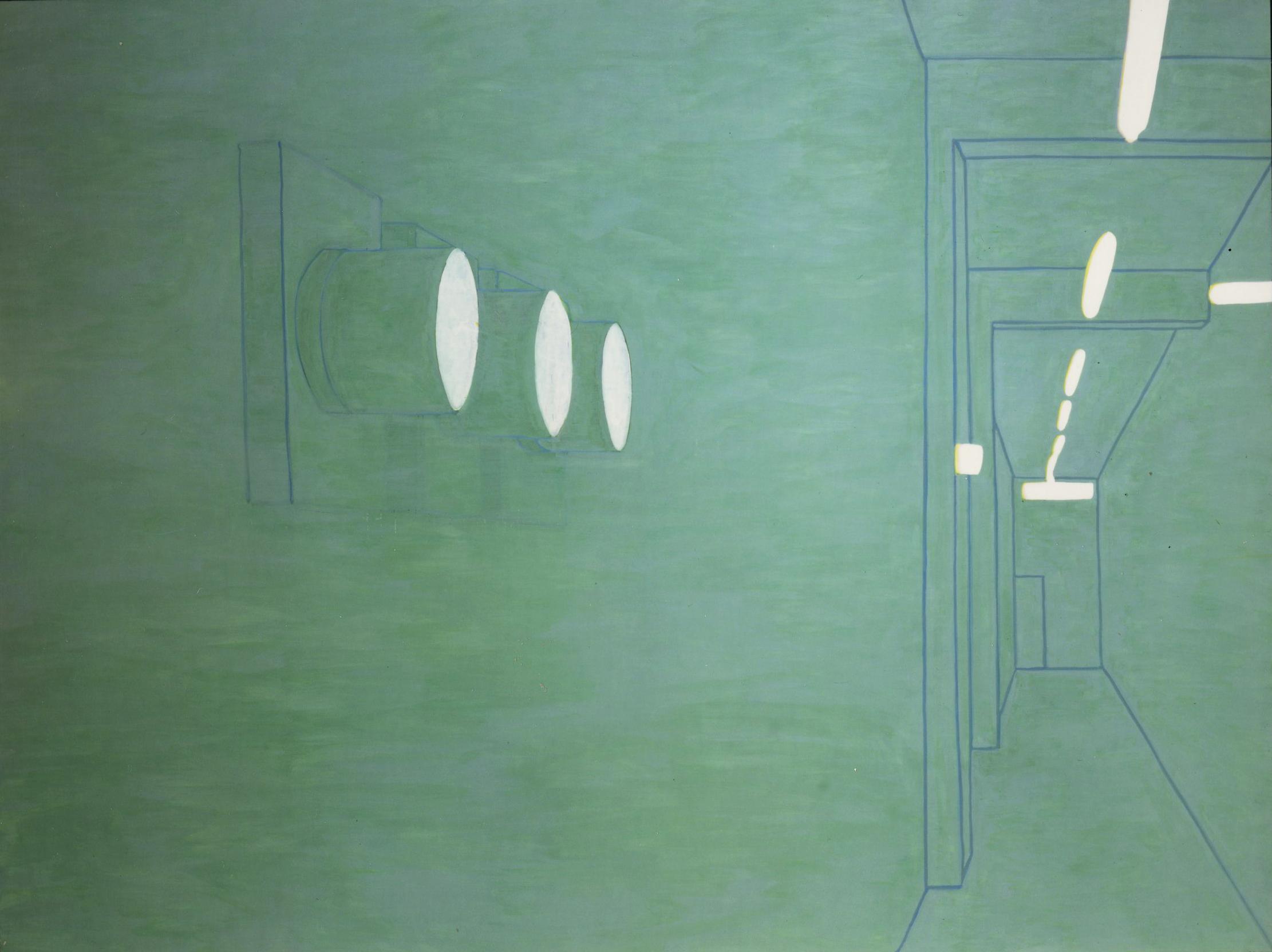 Pancrazzi, Interno di Paesaggio, 2000, olio su tela, 150×200 cm