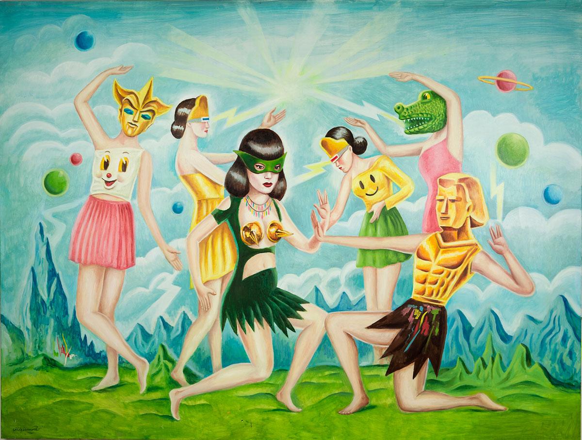 Sergio Mora, Cosmic Dancers, 2020, oil on canvas, 150x200 cm