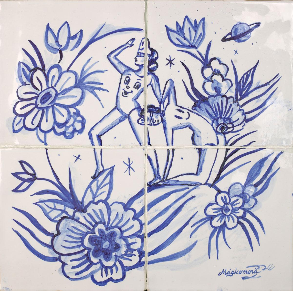 Sergio Mora, Cosmic Girls, 2020, smalto su azulejos, 30x30 cm