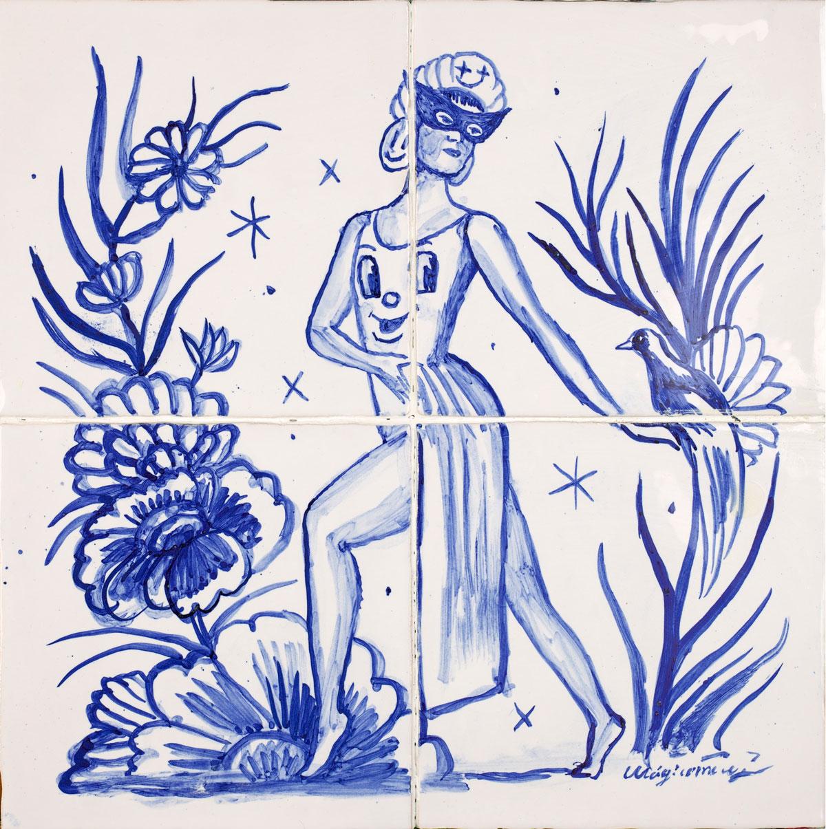 Sergio Mora, Dancing in the paradise, 2020, smalto su azulejos, 30x30 cm