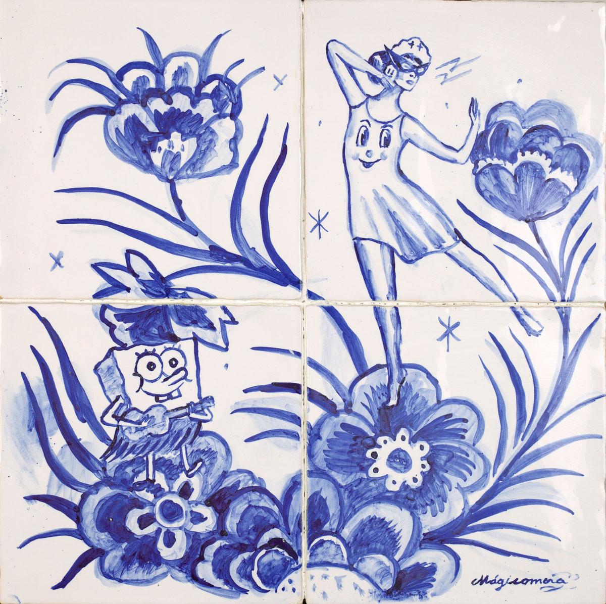 Sergio Mora, Hula Time, 2020, smalto su azulejos, 30x30 cm
