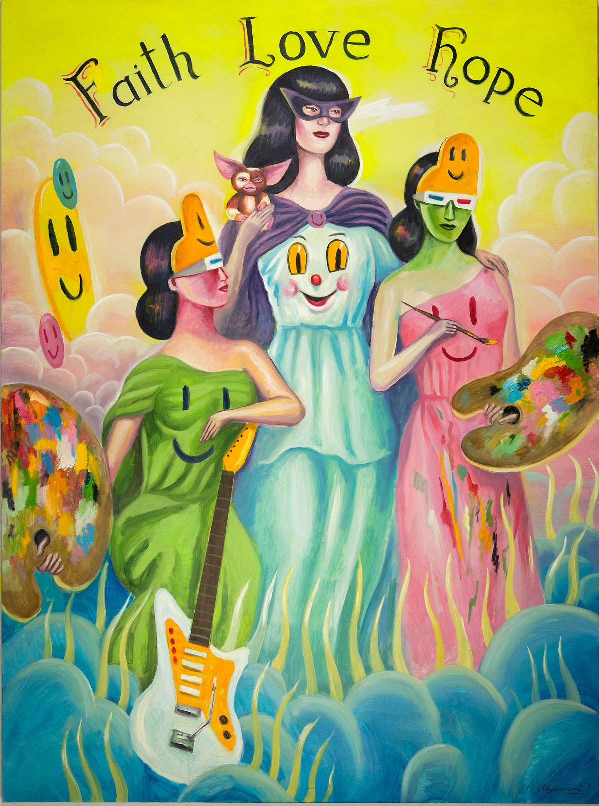 Sergio Mora, Magic Muses, 2020, oil on canvas, 200x150 cm