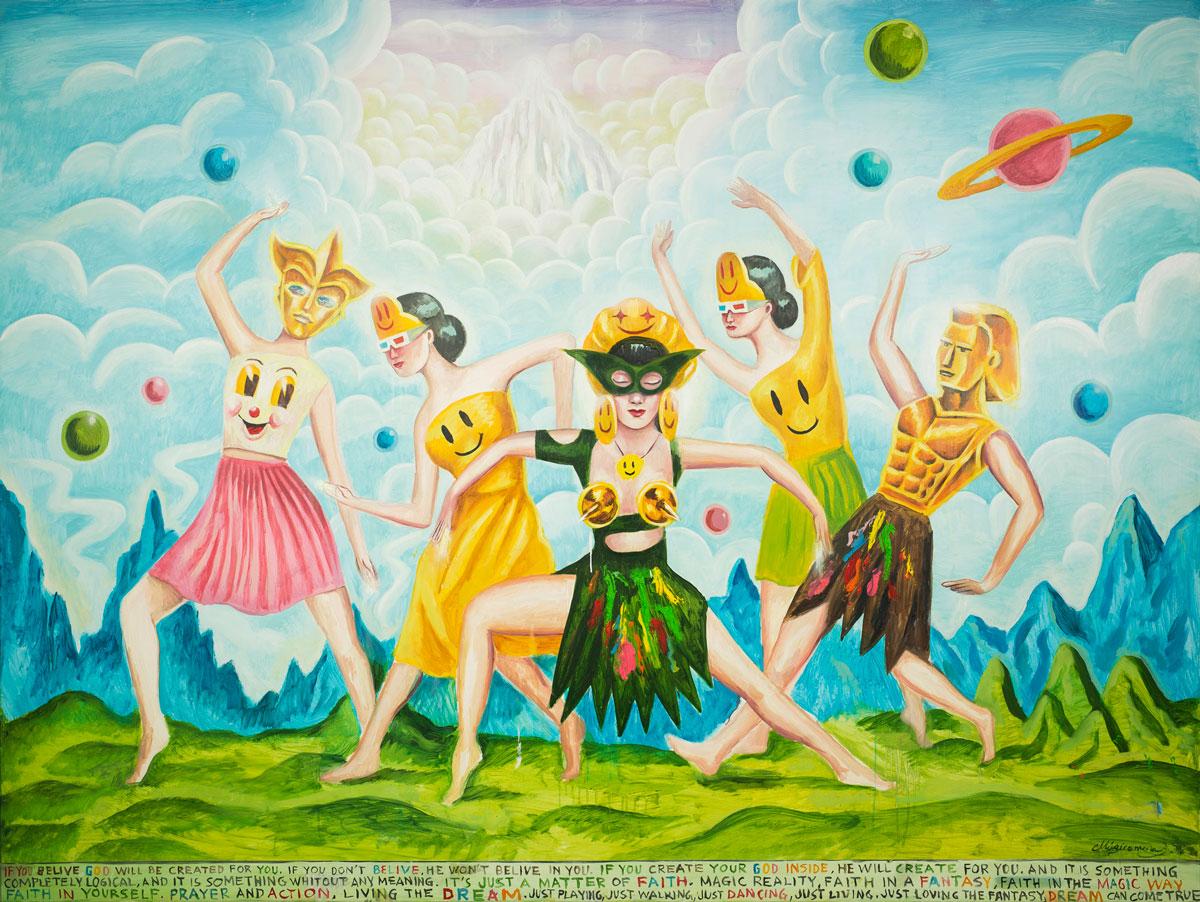 Sergio Mora, We are cosmos, 2020, smalto su azulejos, 30x30 cm