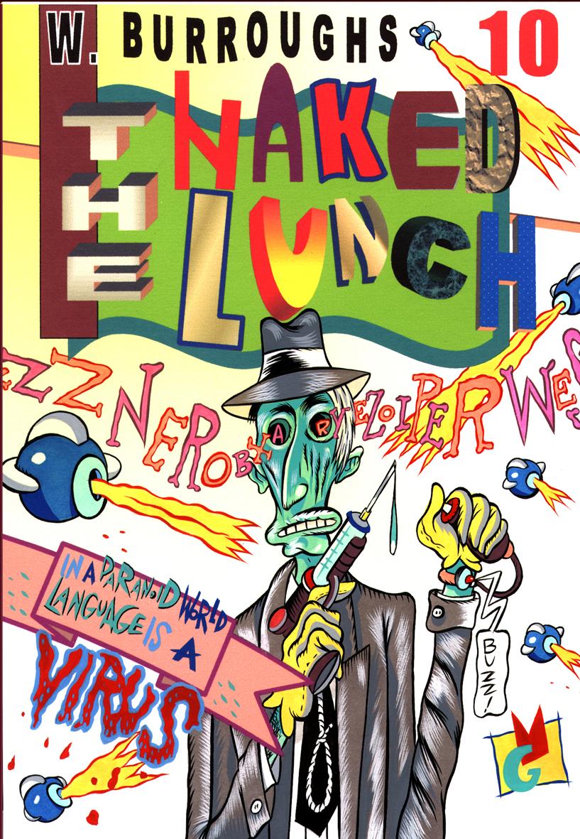 The Naked Lunch, tempera su stampa a getto d'inchiostro su carta, 1999, cm 21x 29,7