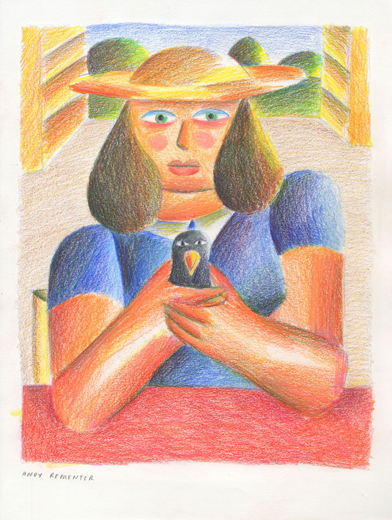 Andy Rementer, Uccellino, 2020, colored pencil on paper, 30,5x22,9 cm