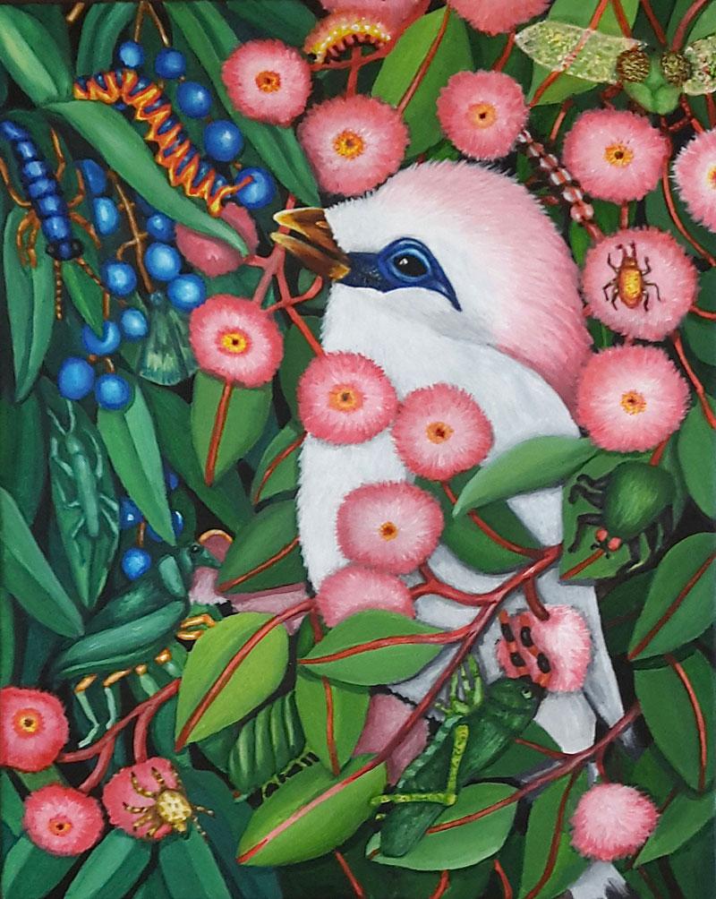 Berglind Svavardottir, Hide and Seek XXX, 2020, acrylic on canvas board, 30 x 24 cm