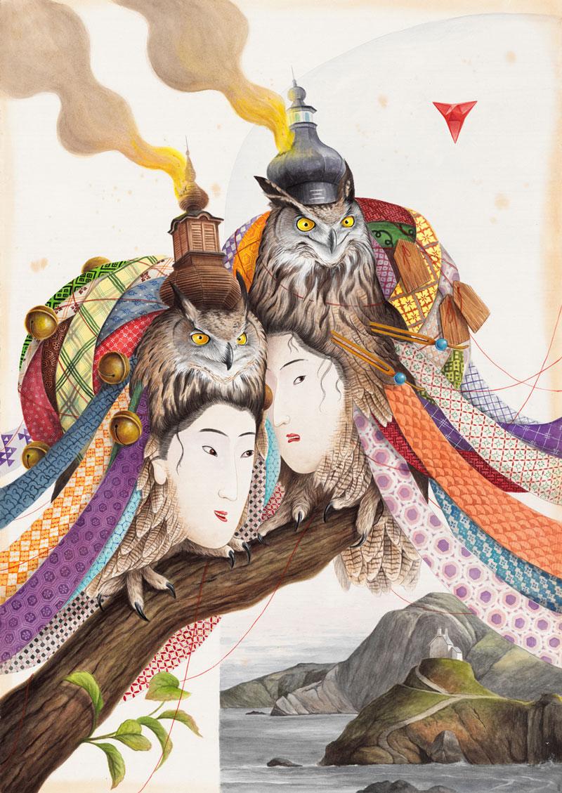 El Gato Chimney, Wishpering Secretes, 2021, watercolor and gouache on cotton paper, 100 x 70 cm