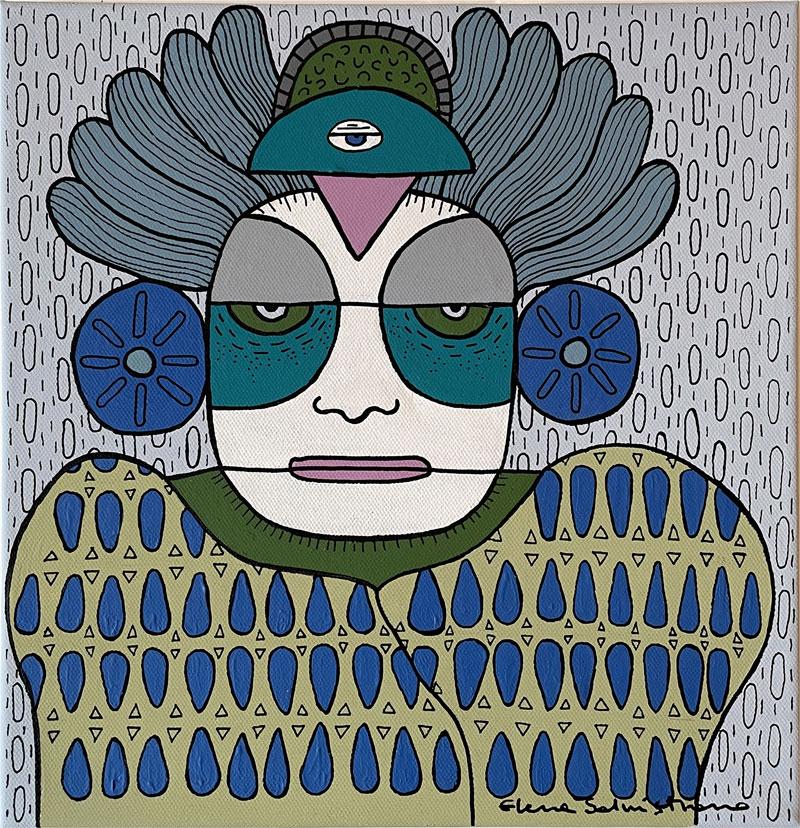 Elena Salmistraro, Sciamano, 2016, acrylic on canvas, 30 x 30 cm