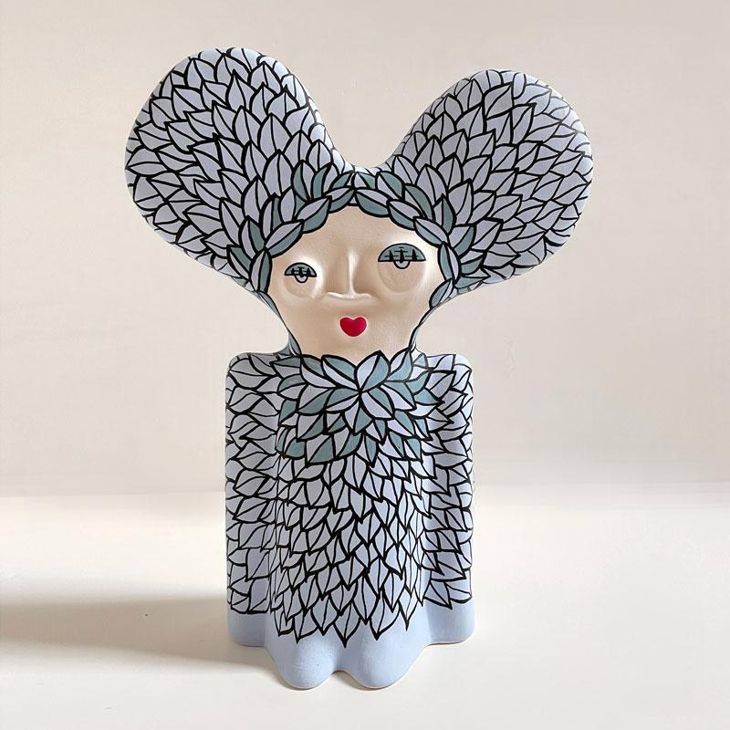 Elena Salmistraro, Statuetta (2), 2021, acrylic on ceramic sculpture, h 31 x 23 x 11 cm