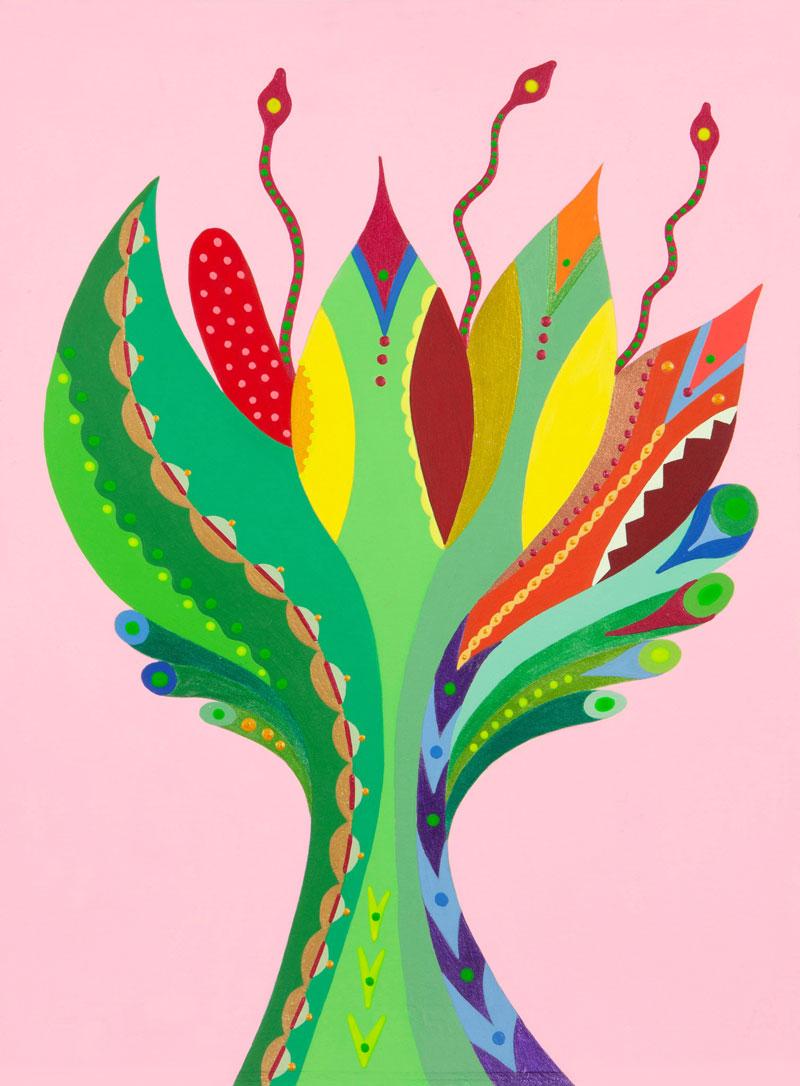 Fulvia Mendini, Fiore della passione, 2020, acrylic on paper, 38 x 28 cm