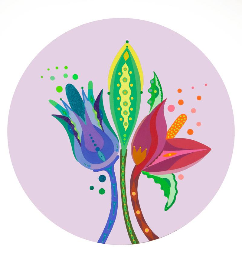 Fulvia Mendini, Tre fiori, 2021, acrylic on canvas, diam 50 cm