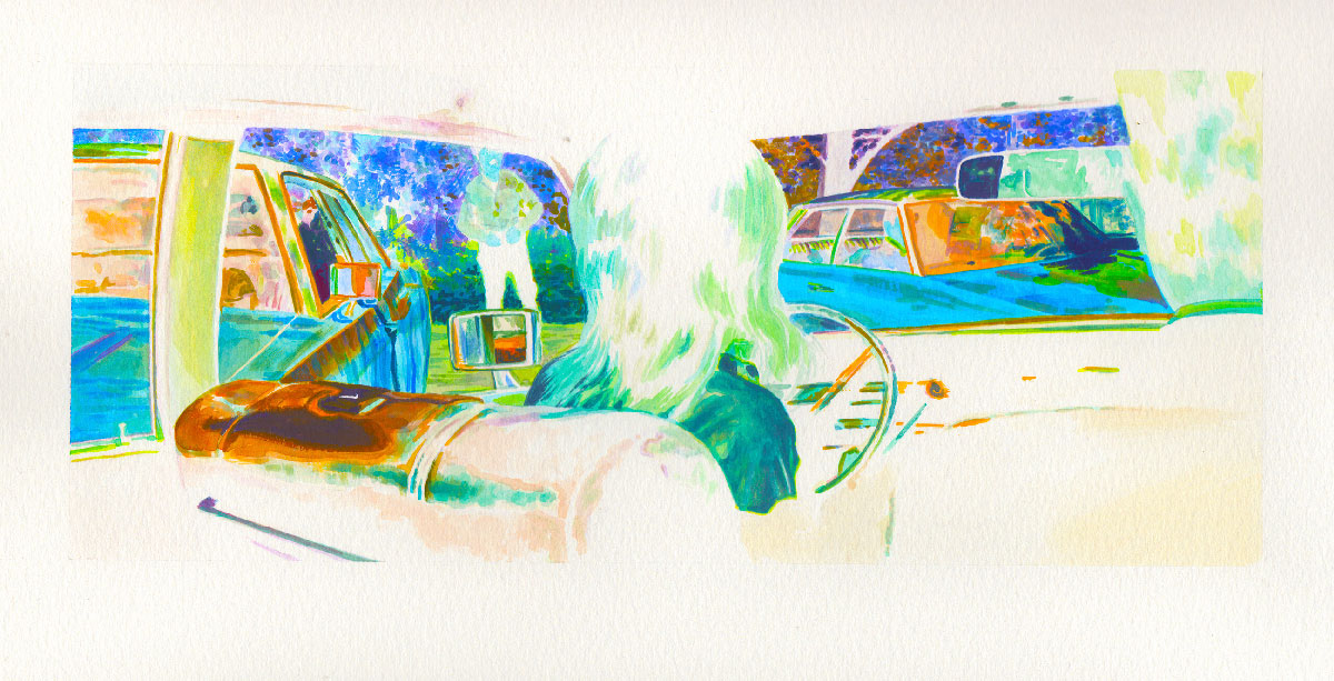 Eric-White,-Charley-Varick-Inverse-1971-Lincoln-Continental-Backseat,-2014,-acrylic-gouache-on-paper,-12,7×30,5-cm
