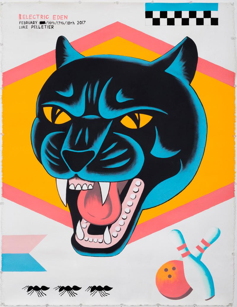 Luke-Pelletier,-Electric-eden,-2017,-acrylic-on-canvas,-106×81-cm