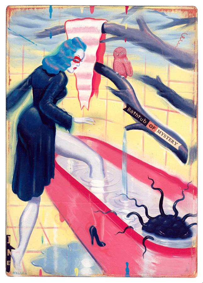 Ryan Heshka, Bathtub of Mystery, acrylic and mixed media on plywood panels, 16 x23 cm