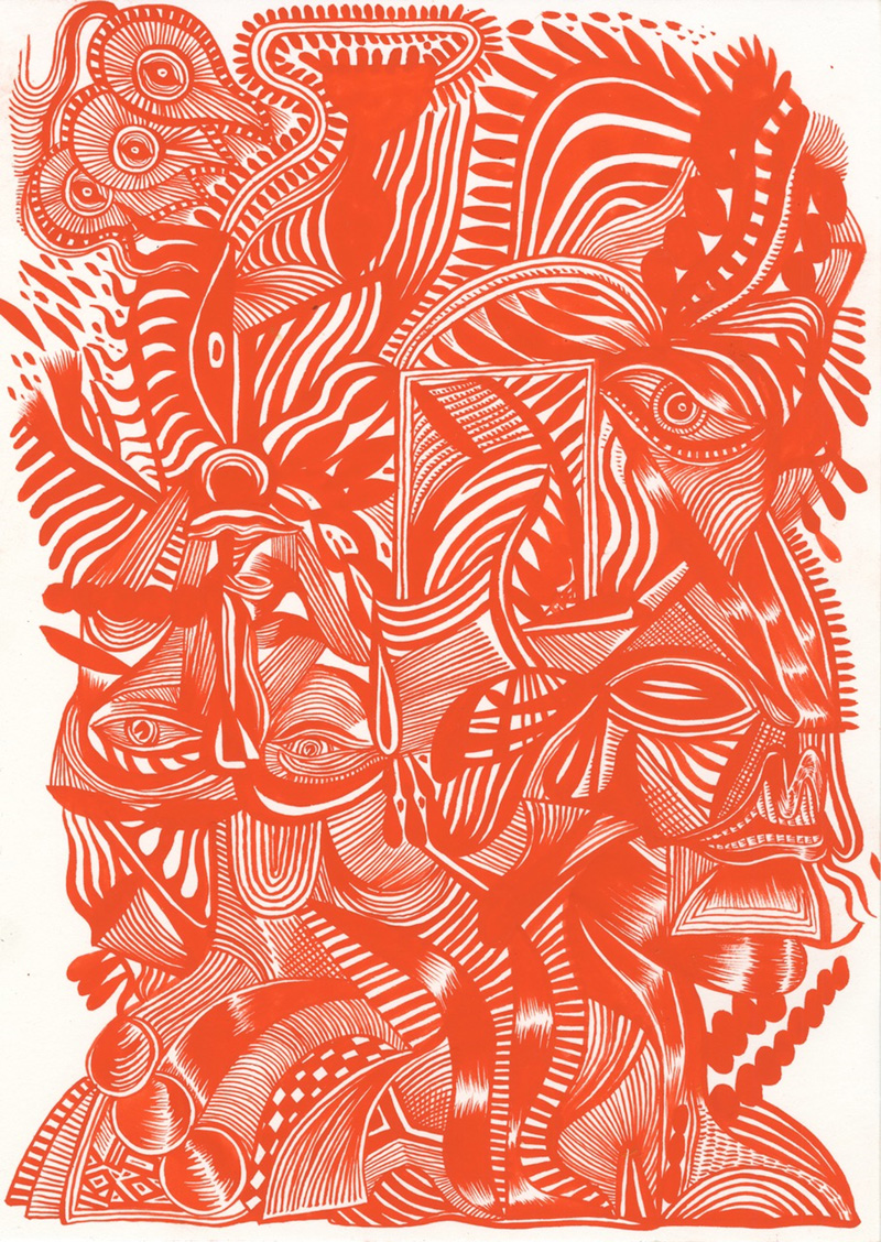 Zio-Ziegler,-Red-Ground-Series-III-(Stone-Age-Gesture),-2017,-watercolor-on-paper,-35x5x25,4-cm